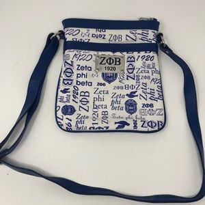 Zeta Phi Beta over shoulder bag